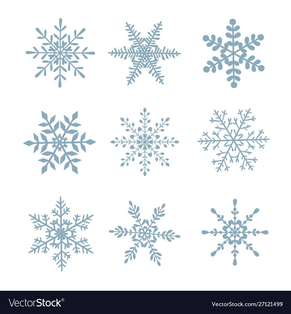 Set snowflakes on white isolated