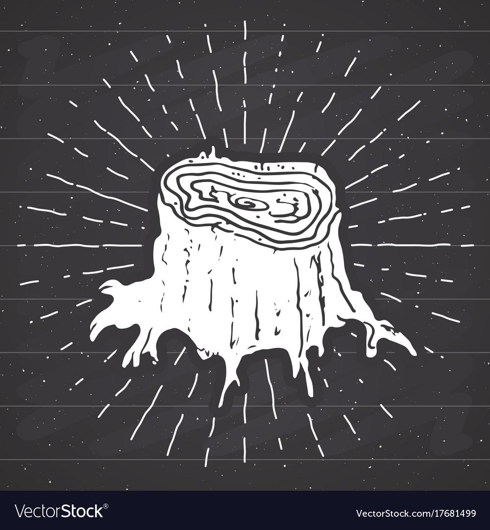 Tree stump vintage label hand drawn sketch grunge