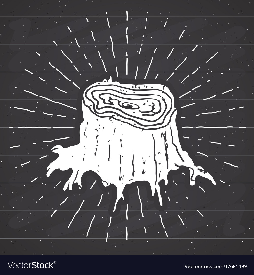 Tree stump vintage label hand drawn sketch grunge vector image
