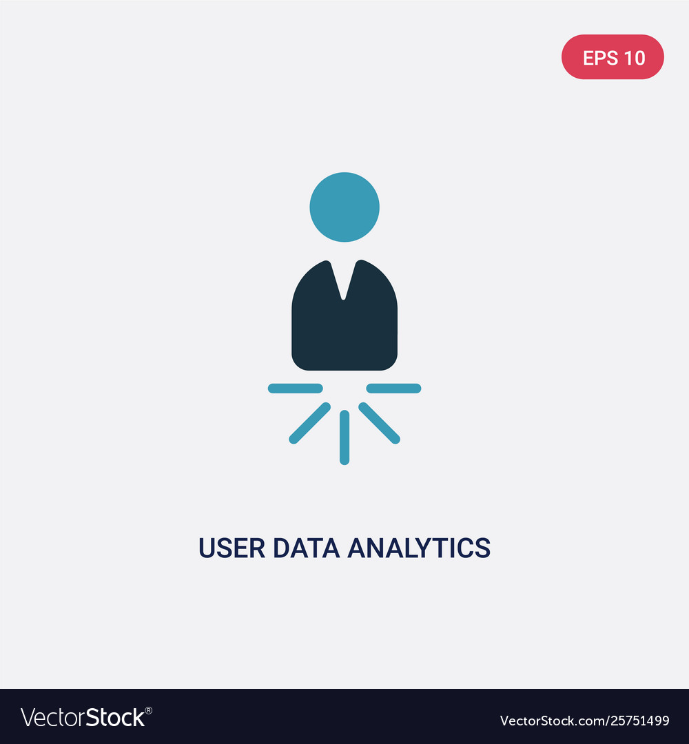 Two color user data analytics icon from user