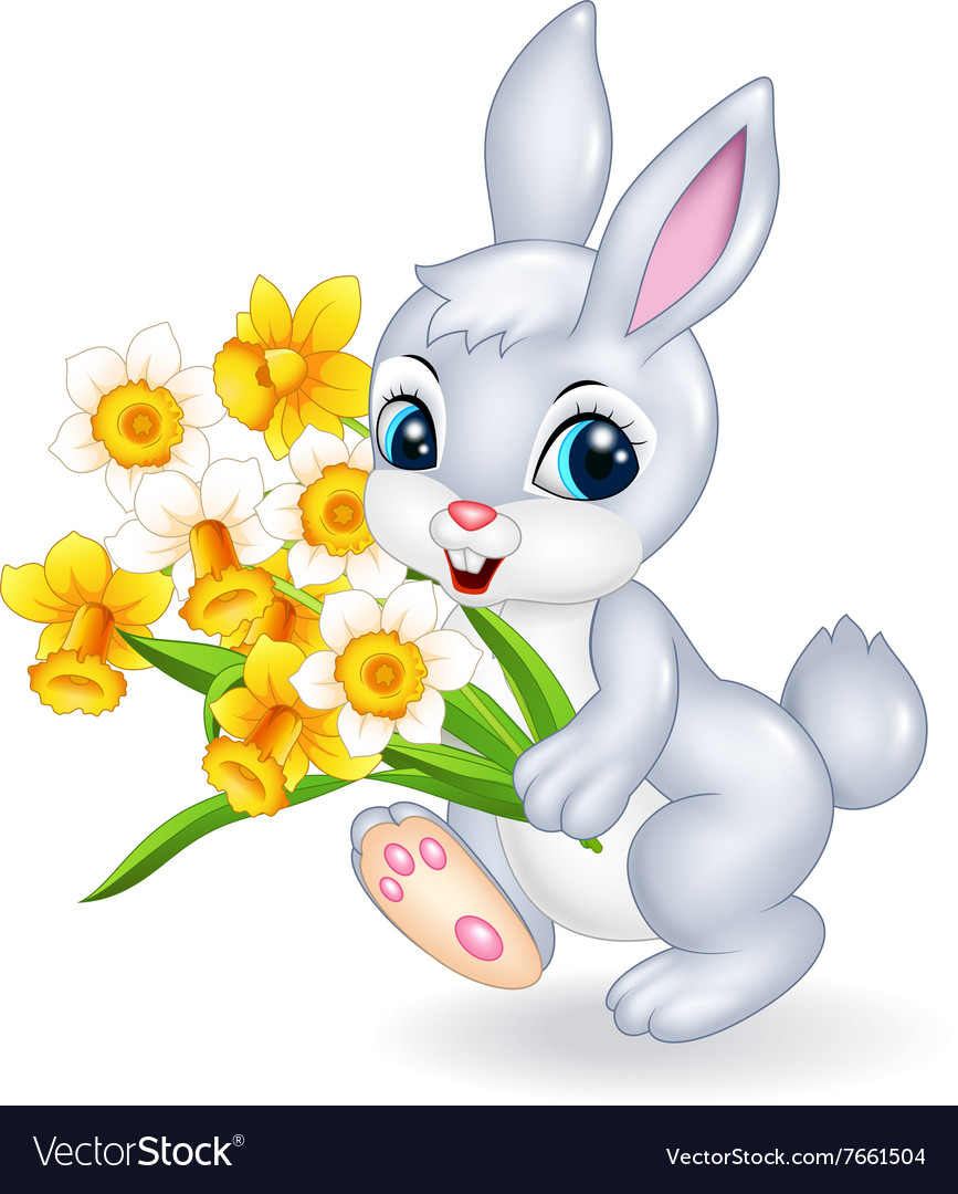 Cute bunny holding beautiful flower