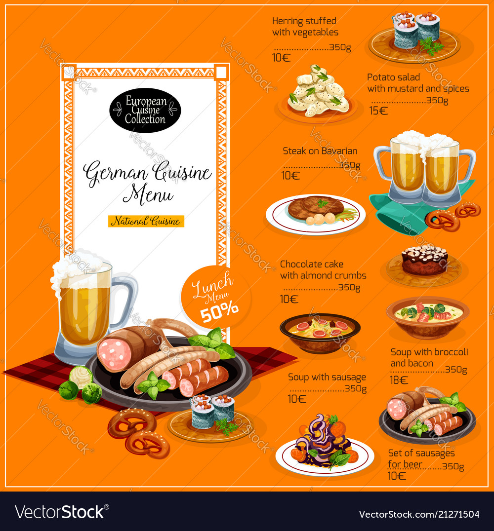 german cuisine restaurant lunch menu template vector image