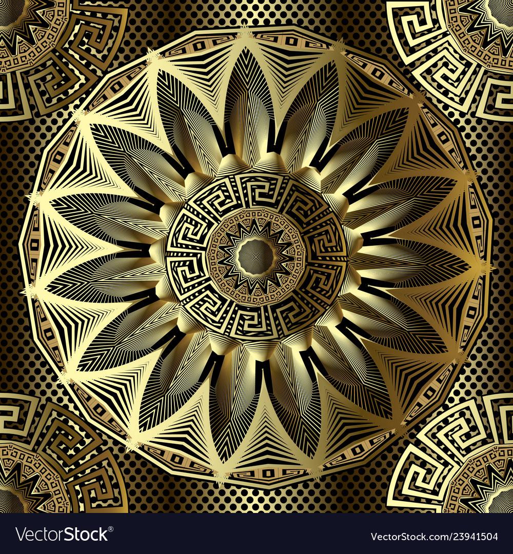 Gold 3d floral greek seamless mandala pattern