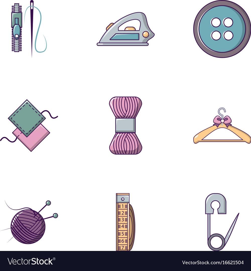 Knitting icons set flat style
