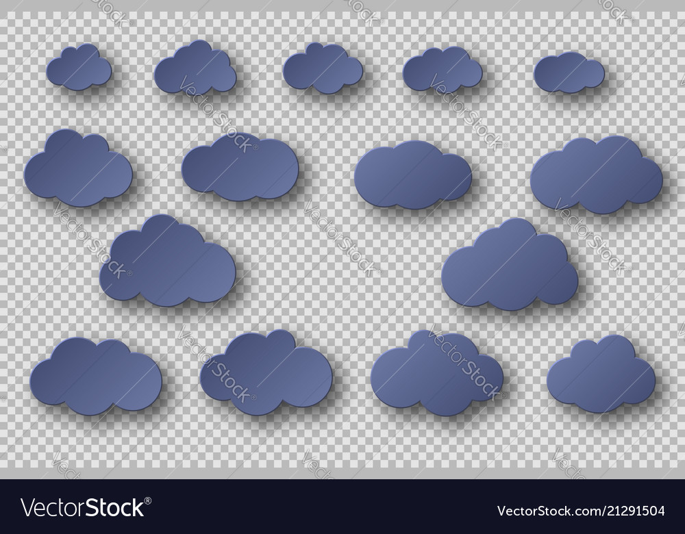 Paper cut blue clouds collection 3d effect with