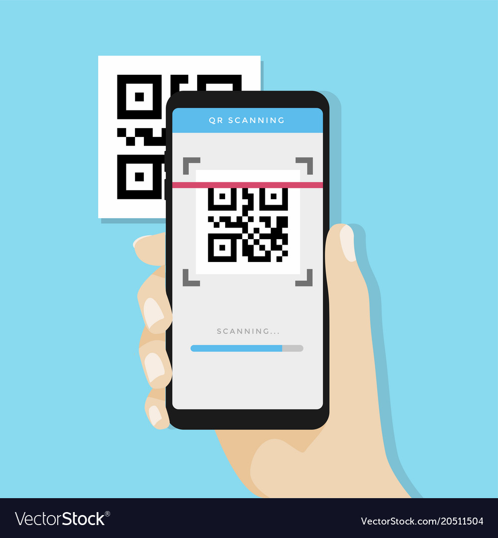 Qr code scanning with mobile phone vector image
