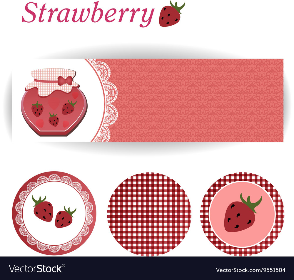 Set of rectangular and round stickers for