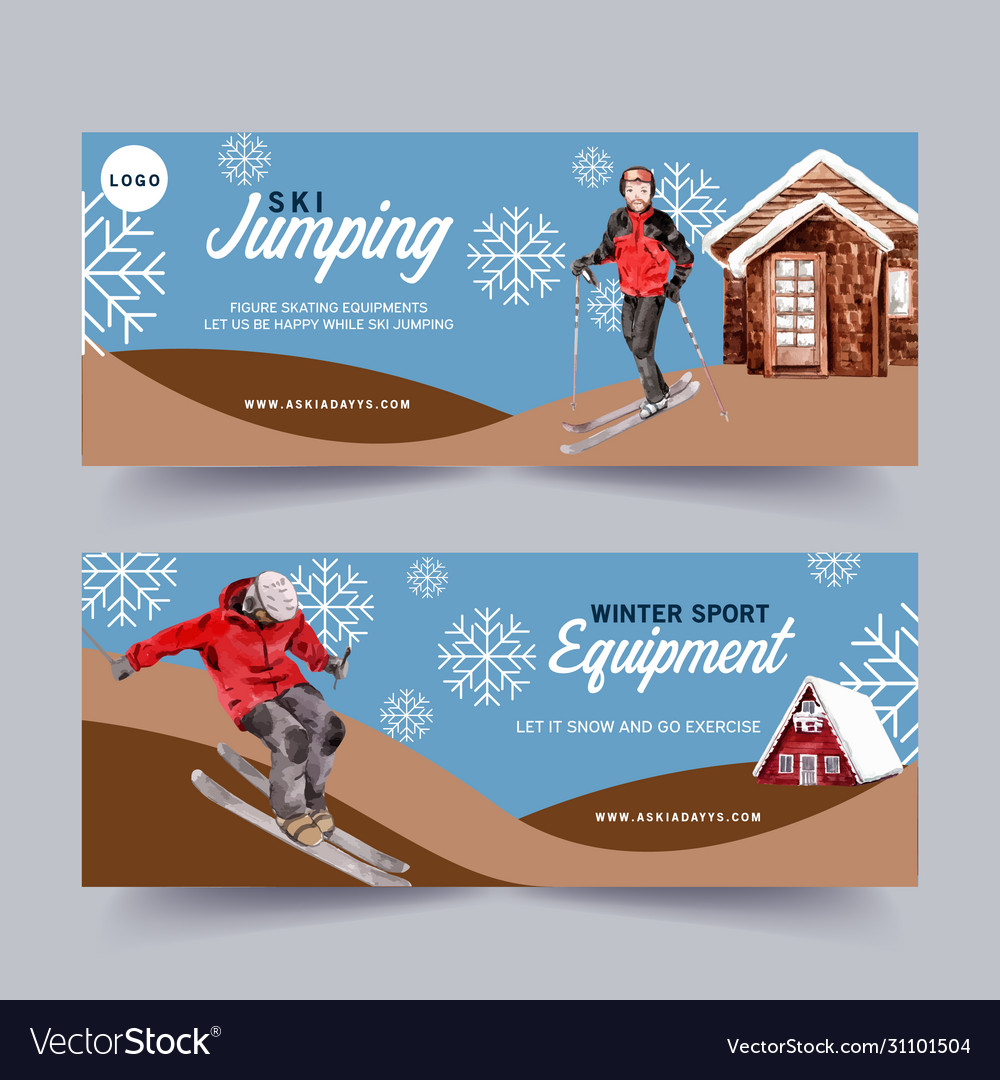 Winter sport banner design with cabin sky snow
