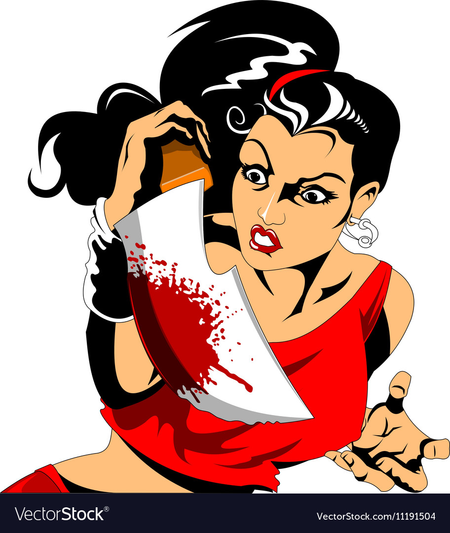 Woman with a knife vector image