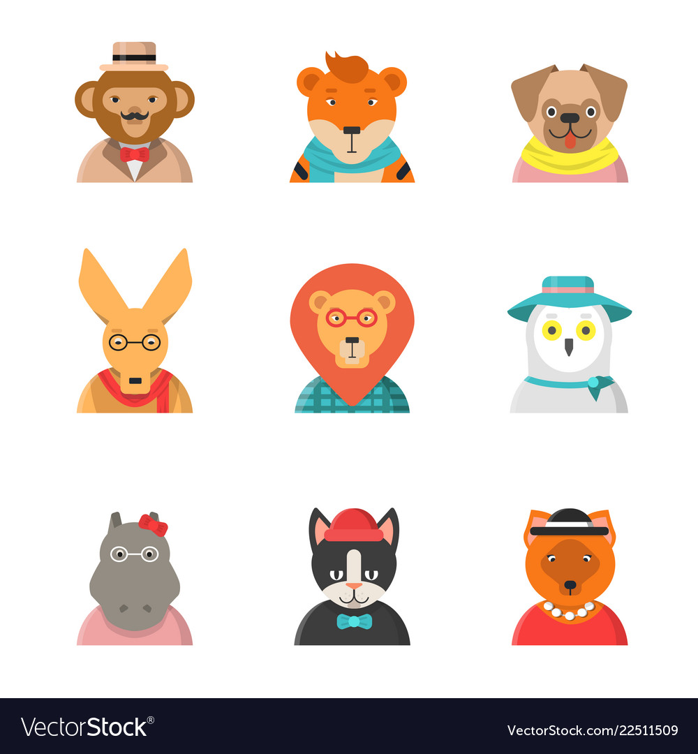 Animal funny faces hipster avatars of monkey cat