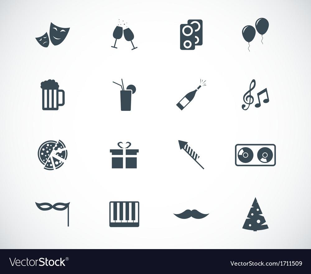 Black party icons set
