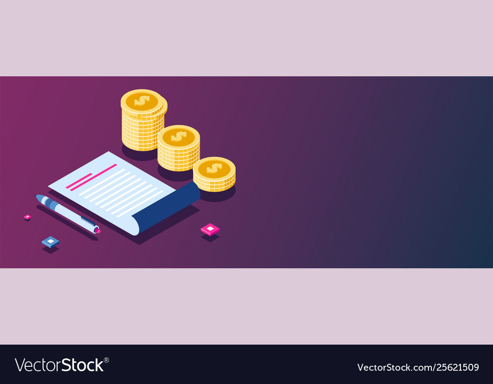 Business analytics and coins stack isometric
