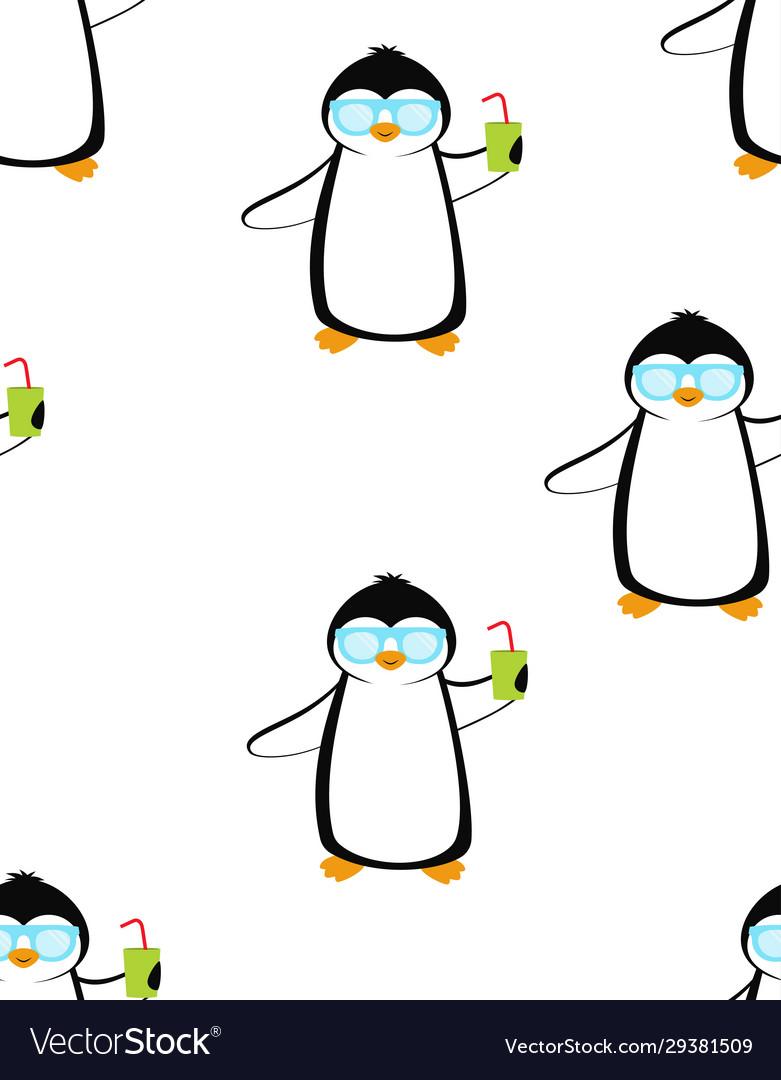 Cartoon pattern with penguins summer print