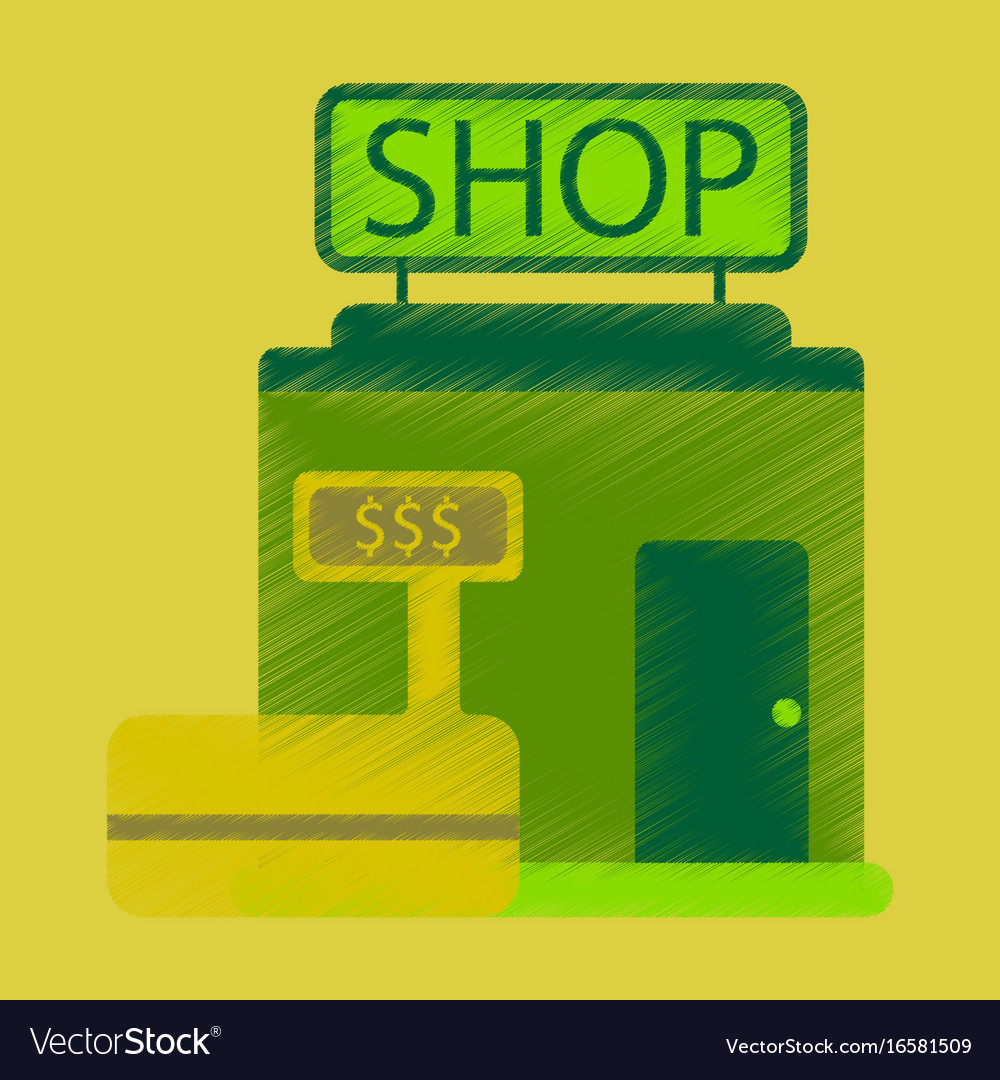Flat icon in shading style shop store