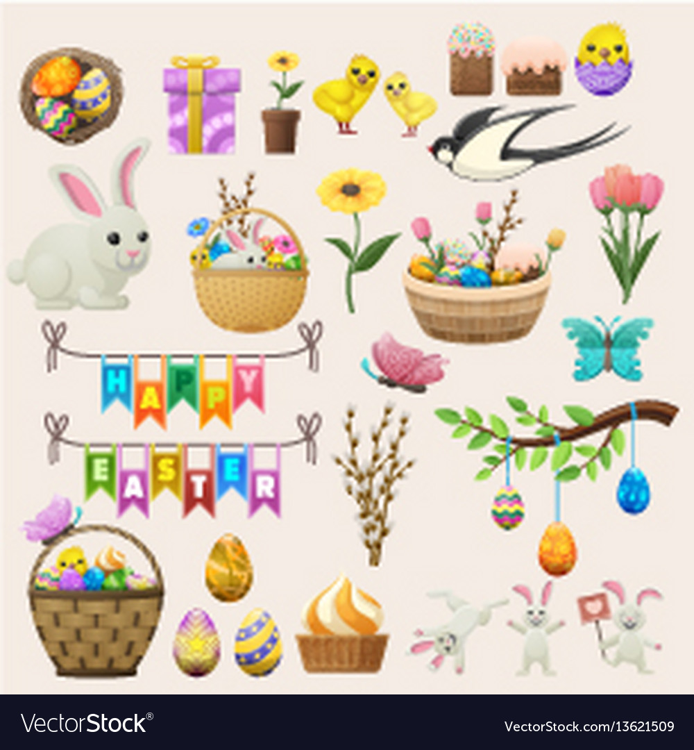 Happy easter concept colourful poster of labels