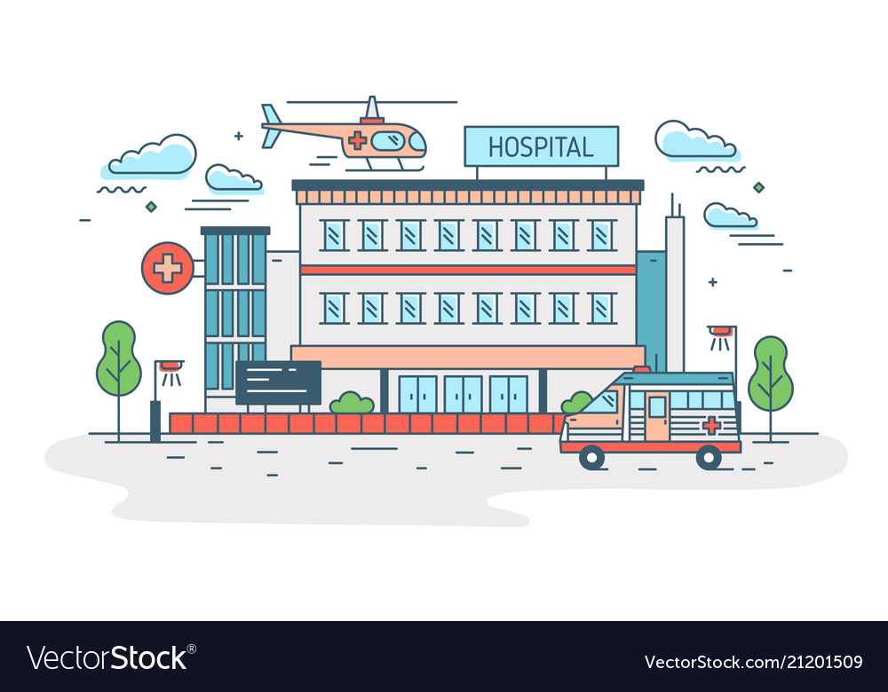 Hospital clinic or medical center building with