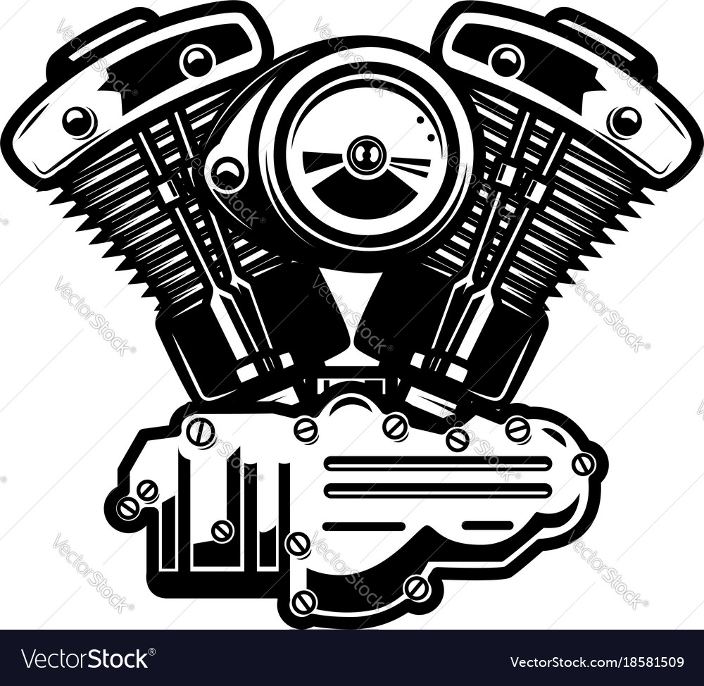 Motorcycle Engine On White Background Royalty Free Vector