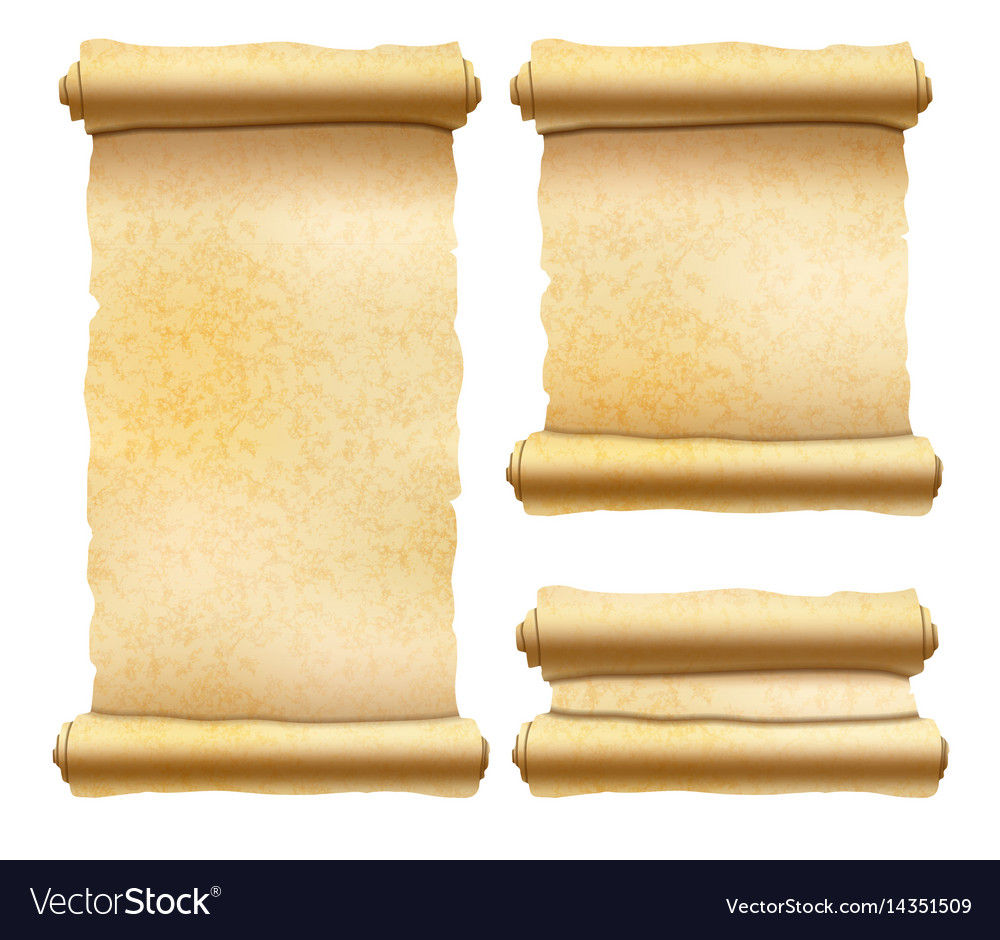 Old textured papyrus scrolls different shapes