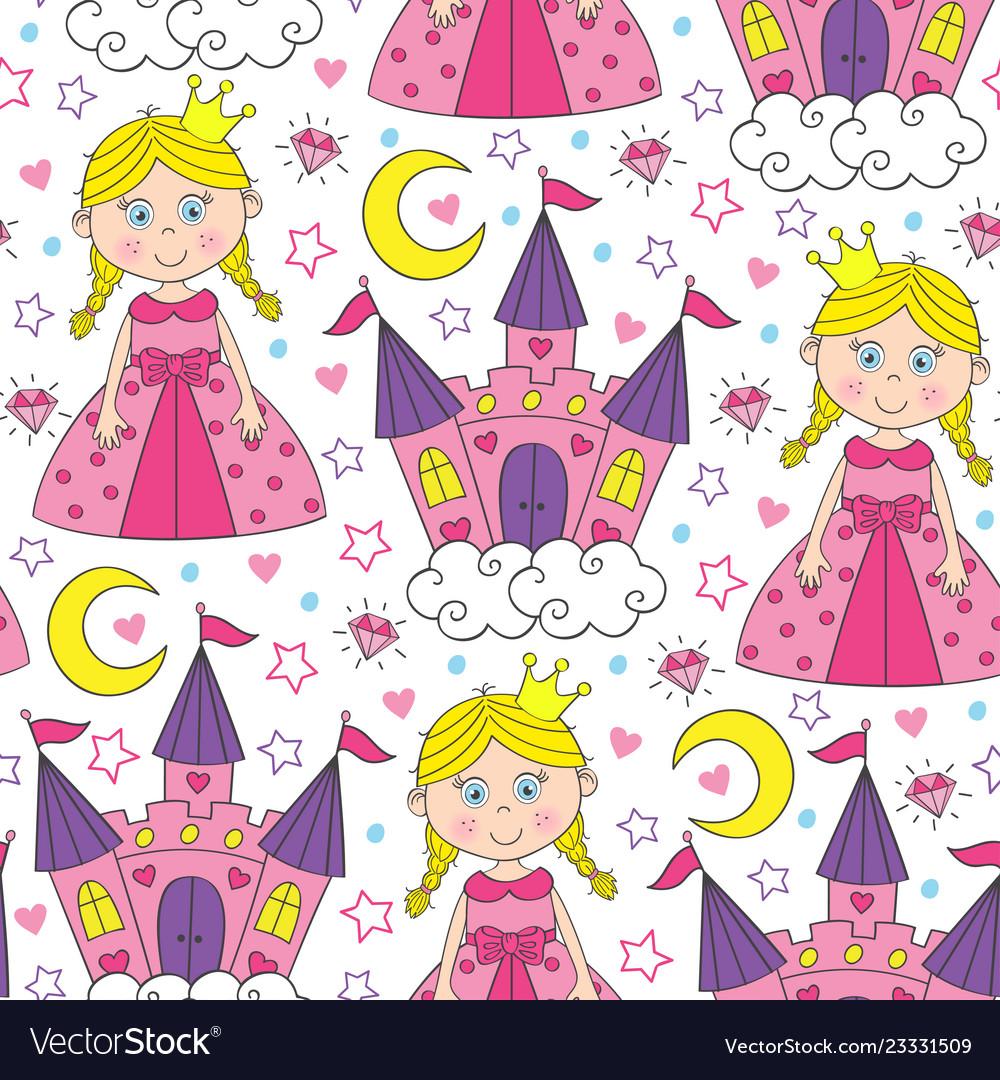 Seamless pattern with beautiful princess