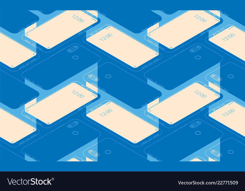 Smartphone seamless flat isometric pattern for