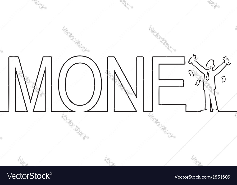 The word MONEY with a man standing in it