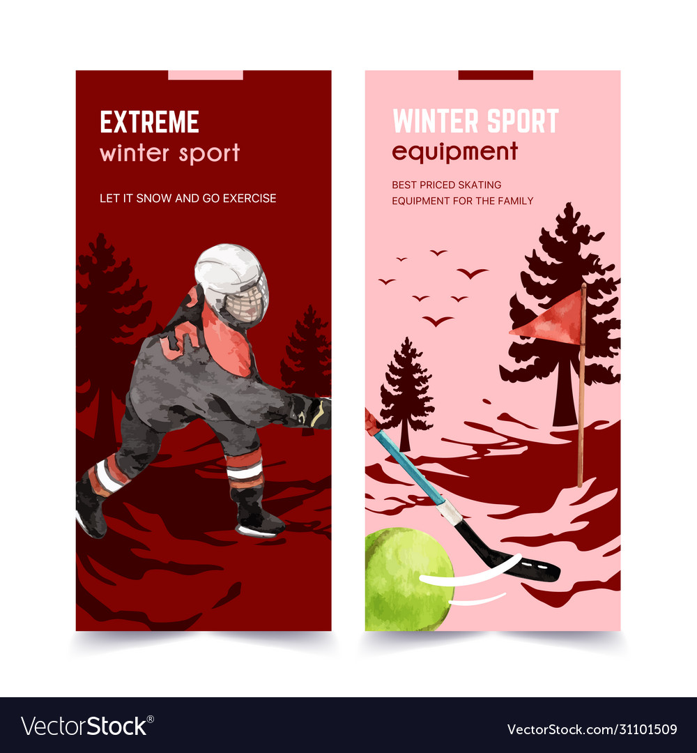 Winter sport flyer design with ball person