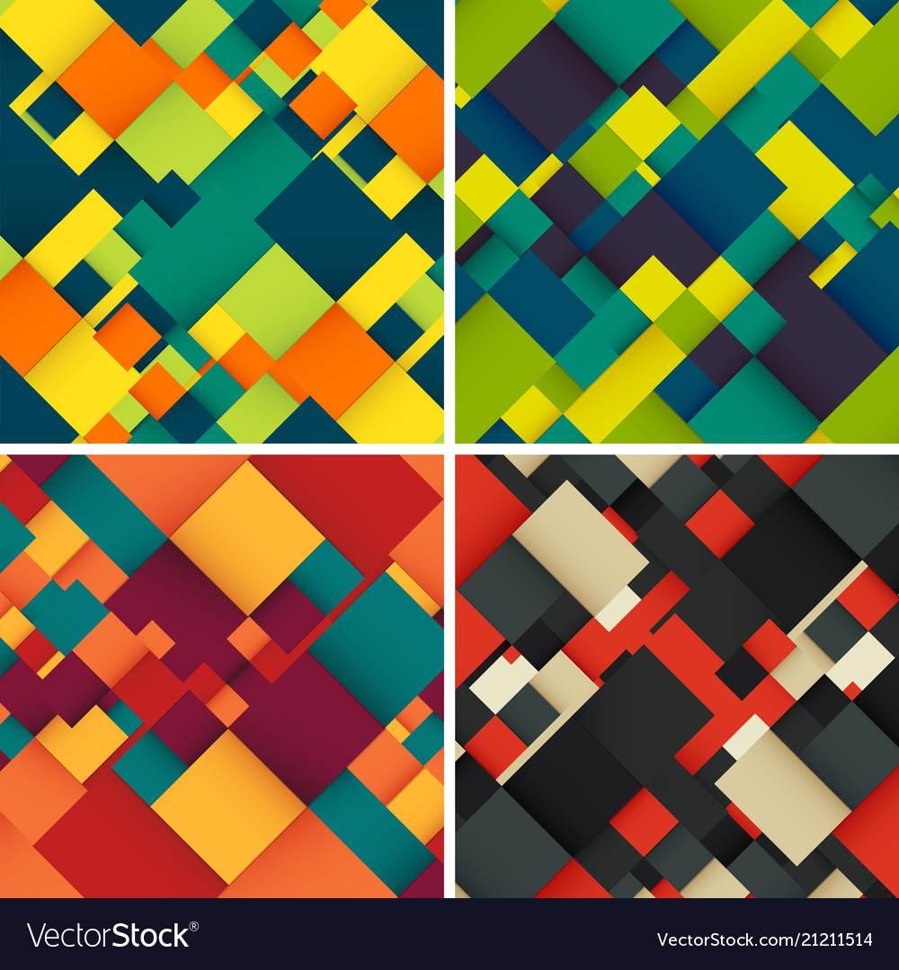 Abstract background set with colorful squares