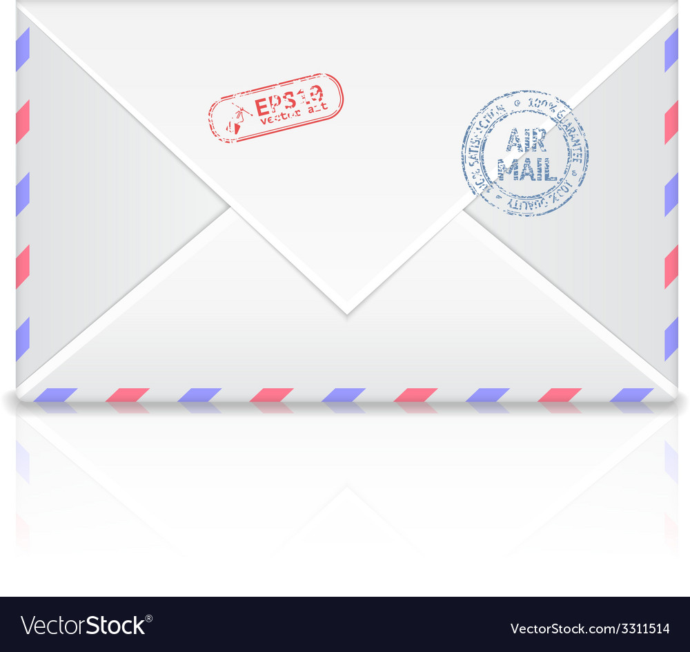 Air mail envelope with postal stamp isolated on