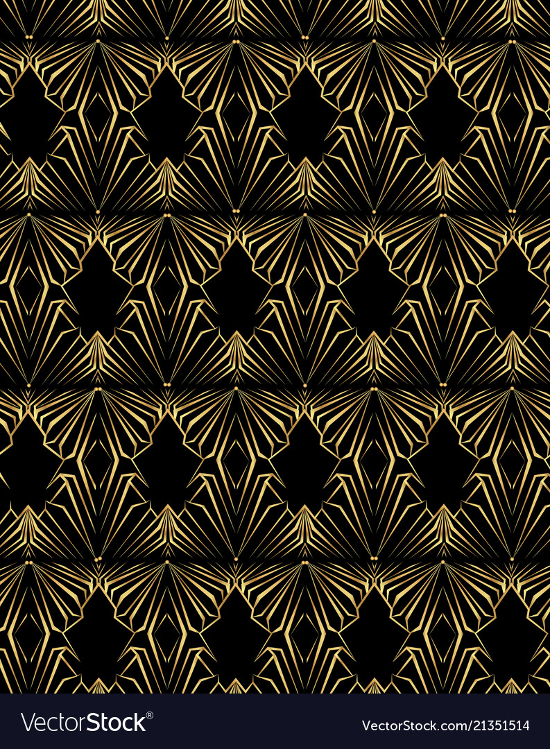 Art deco template golden-black seamless pattern