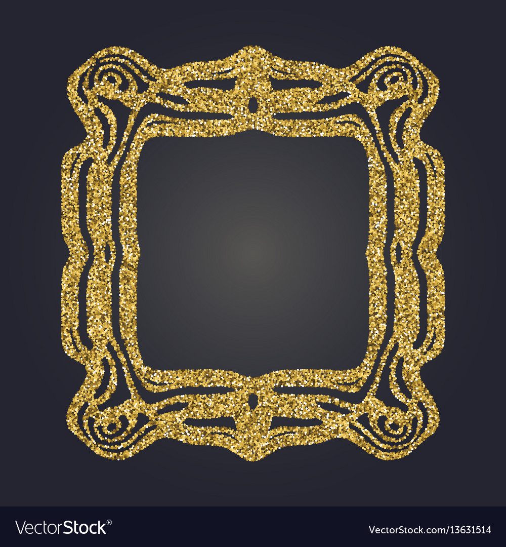 Art nouveau gold glitter decorative rectangle