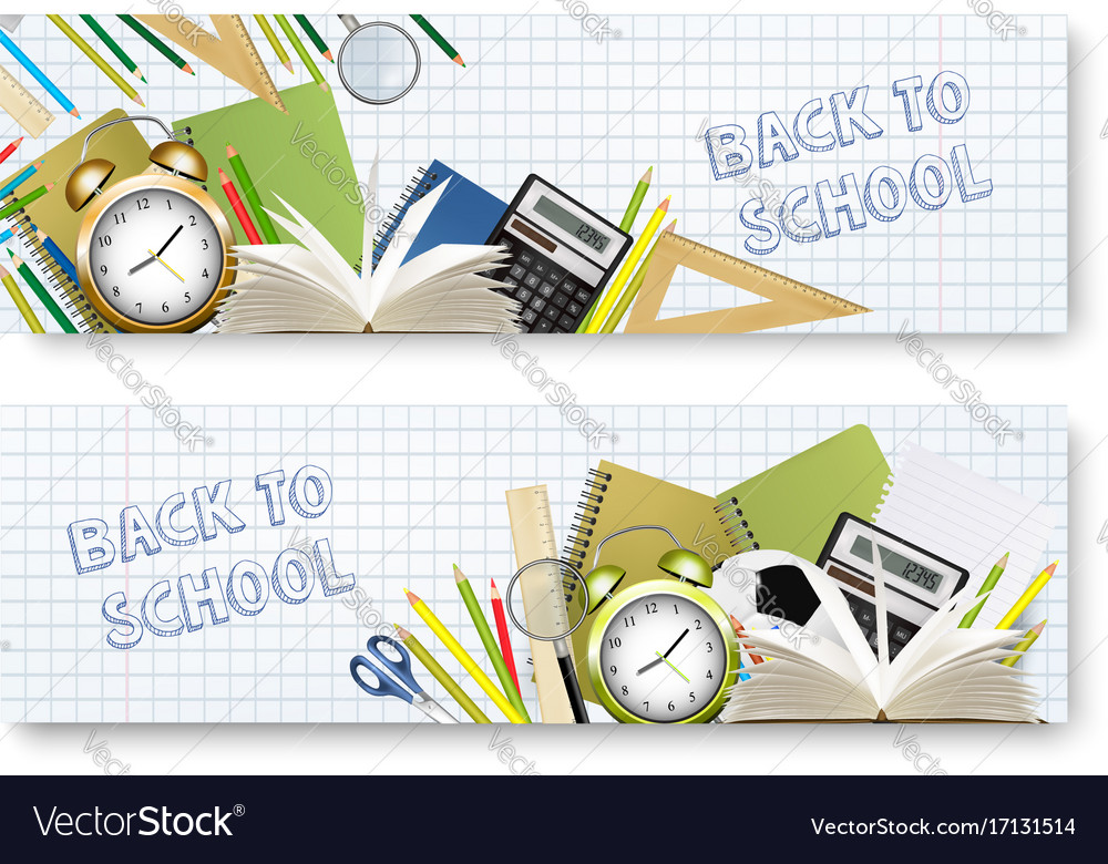Back to school banners with supplies tols and