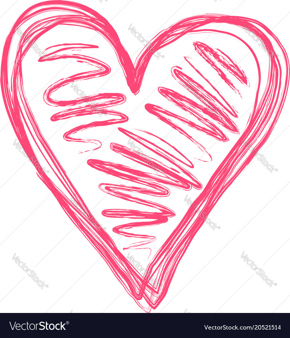 Doodle isolated pink scribble heart symbol