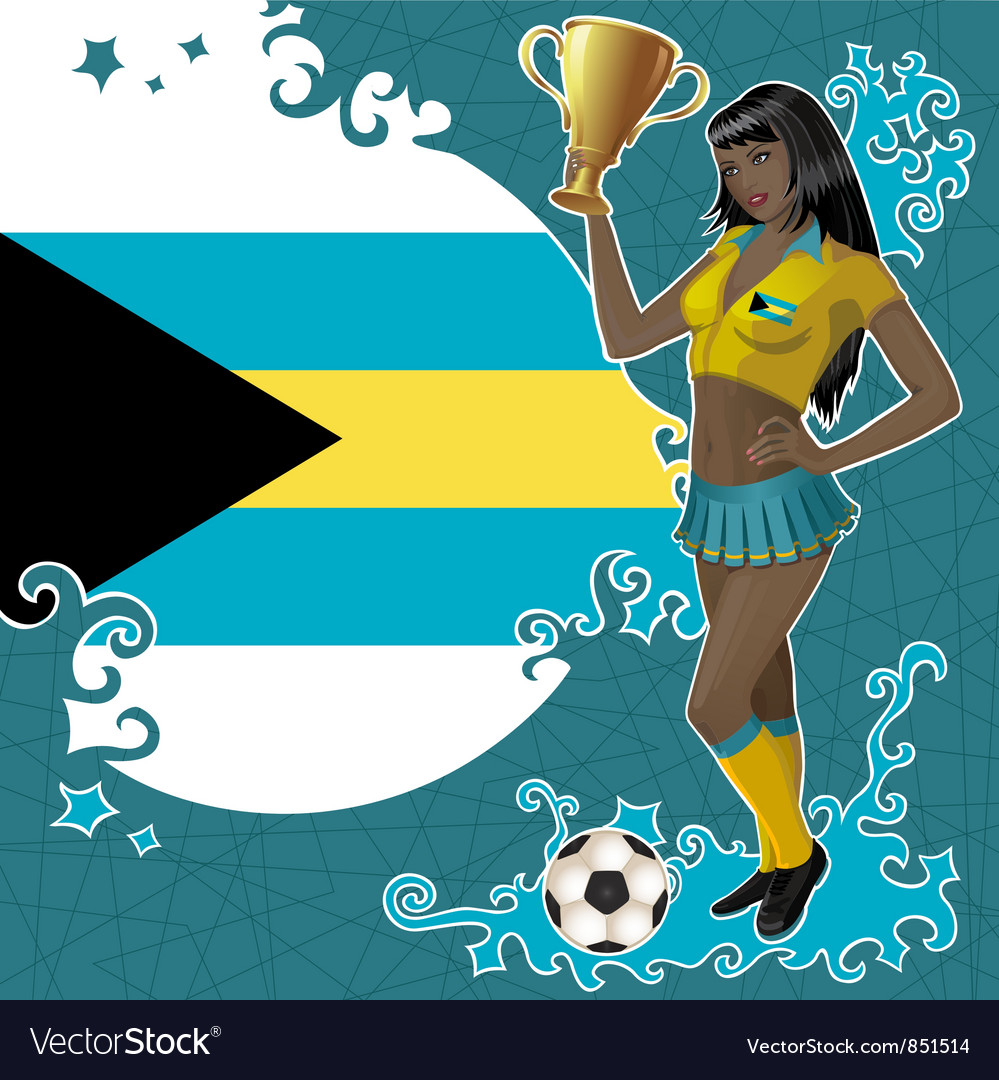 Football poster with girl and flag of the bahamas vector