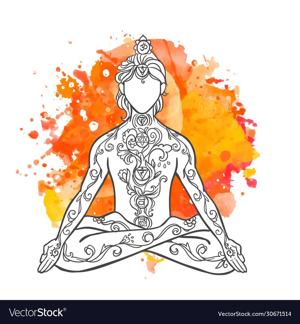 Ornamental man in a yoga pose