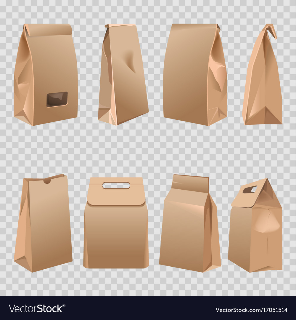 Paper bags 3d with cut handles and rolled fold vector image