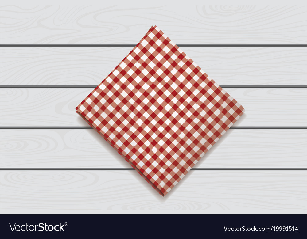 Red napkin on a wooden background plaid gingham