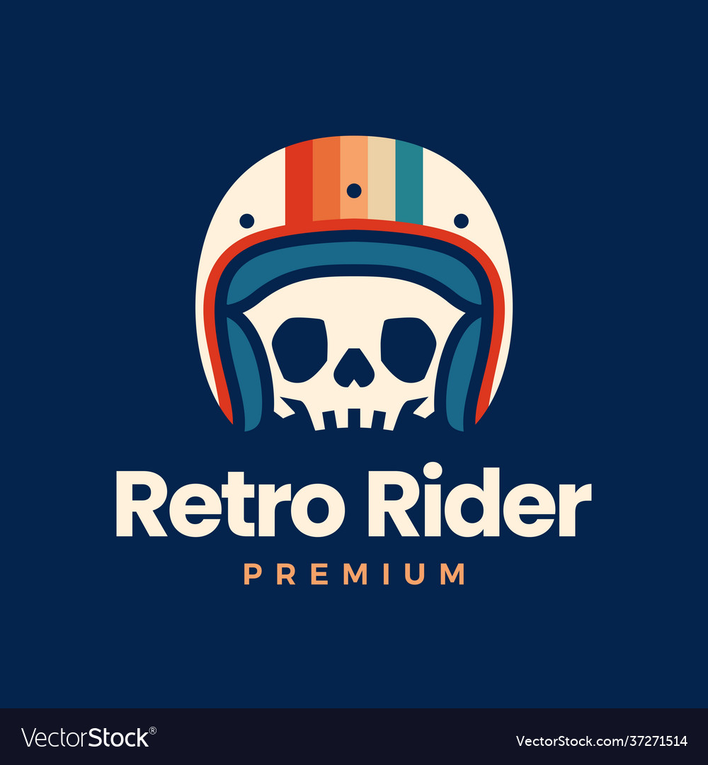 Retro skull helmet rider motorcycle club logo icon