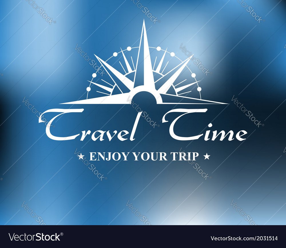 Travel header with compass vector image