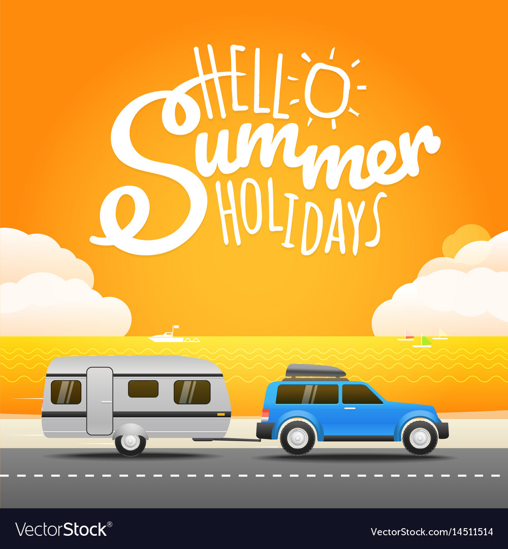Vacation travelling concept flat design hello