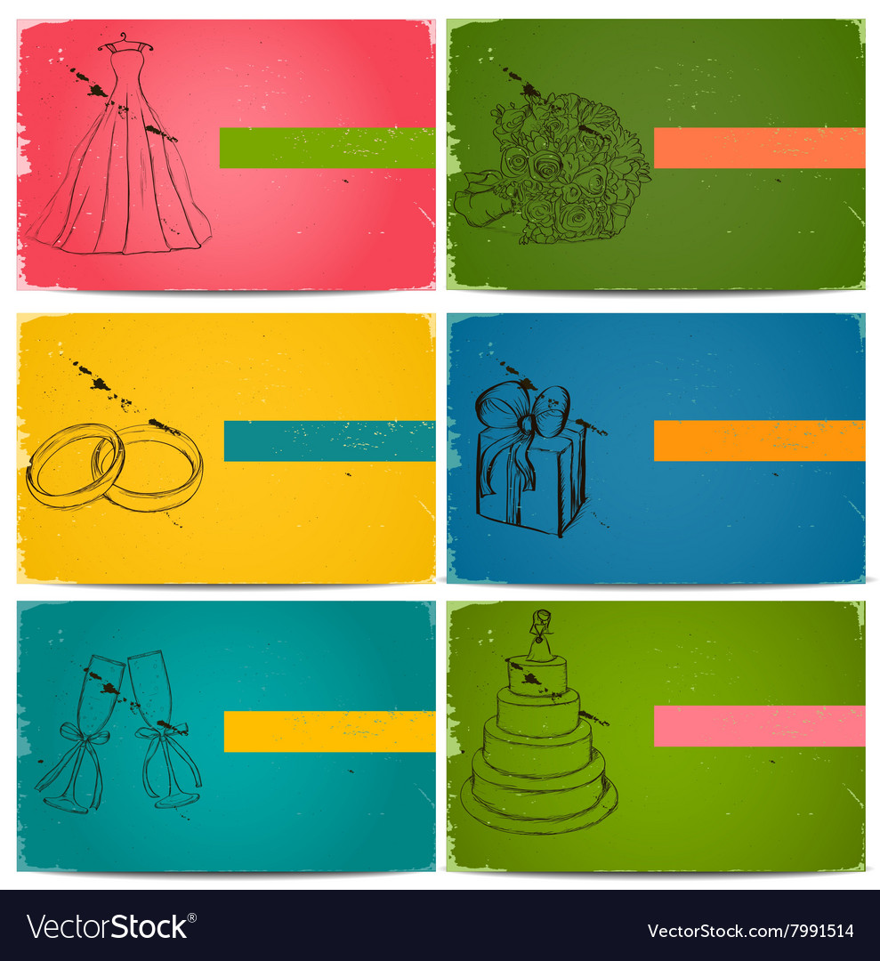 Vintage wedding invitation cards set vector image
