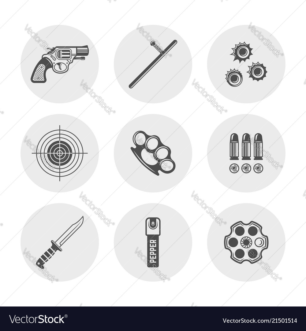 Weapons and set of round silhouette icons