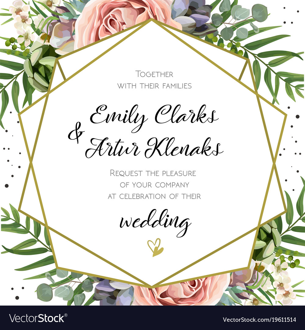 Wedding invitation floral invite card design Vector Image