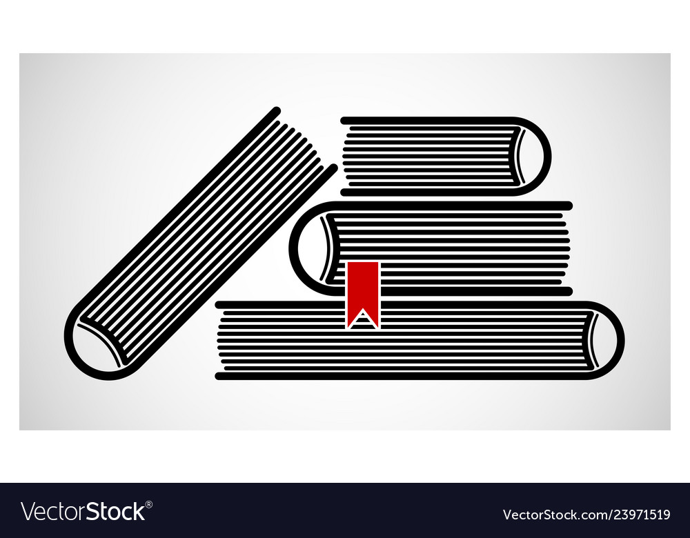 A stack of stacked books logo or emblem black