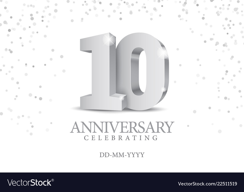 Anniversary 10 silver 3d numbers