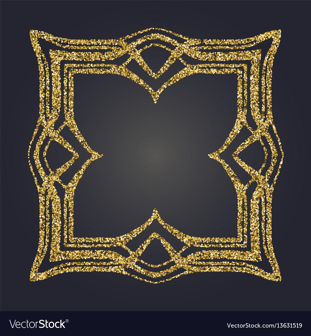 Art nouveau gold glitter decorative rectangle