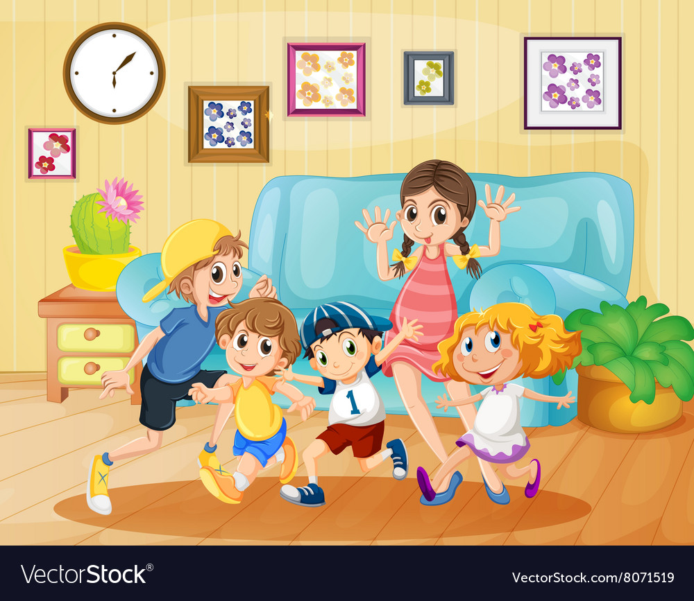 Children Playing In The Living Room Vector Image