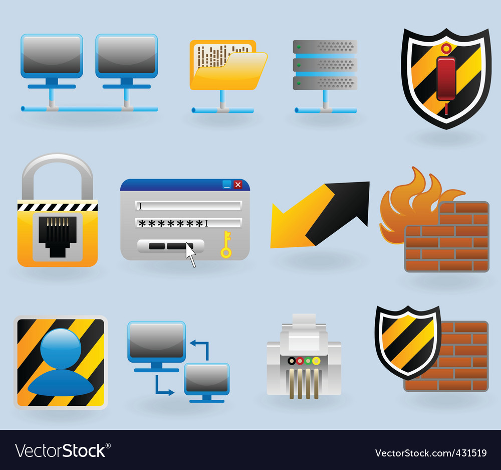 Computer and network vector image