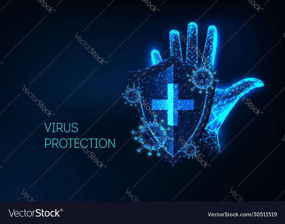 Futuristic coronavirus protection concept