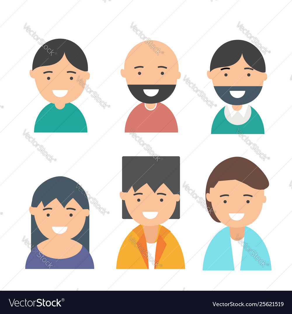 Happy smiling people avatars set