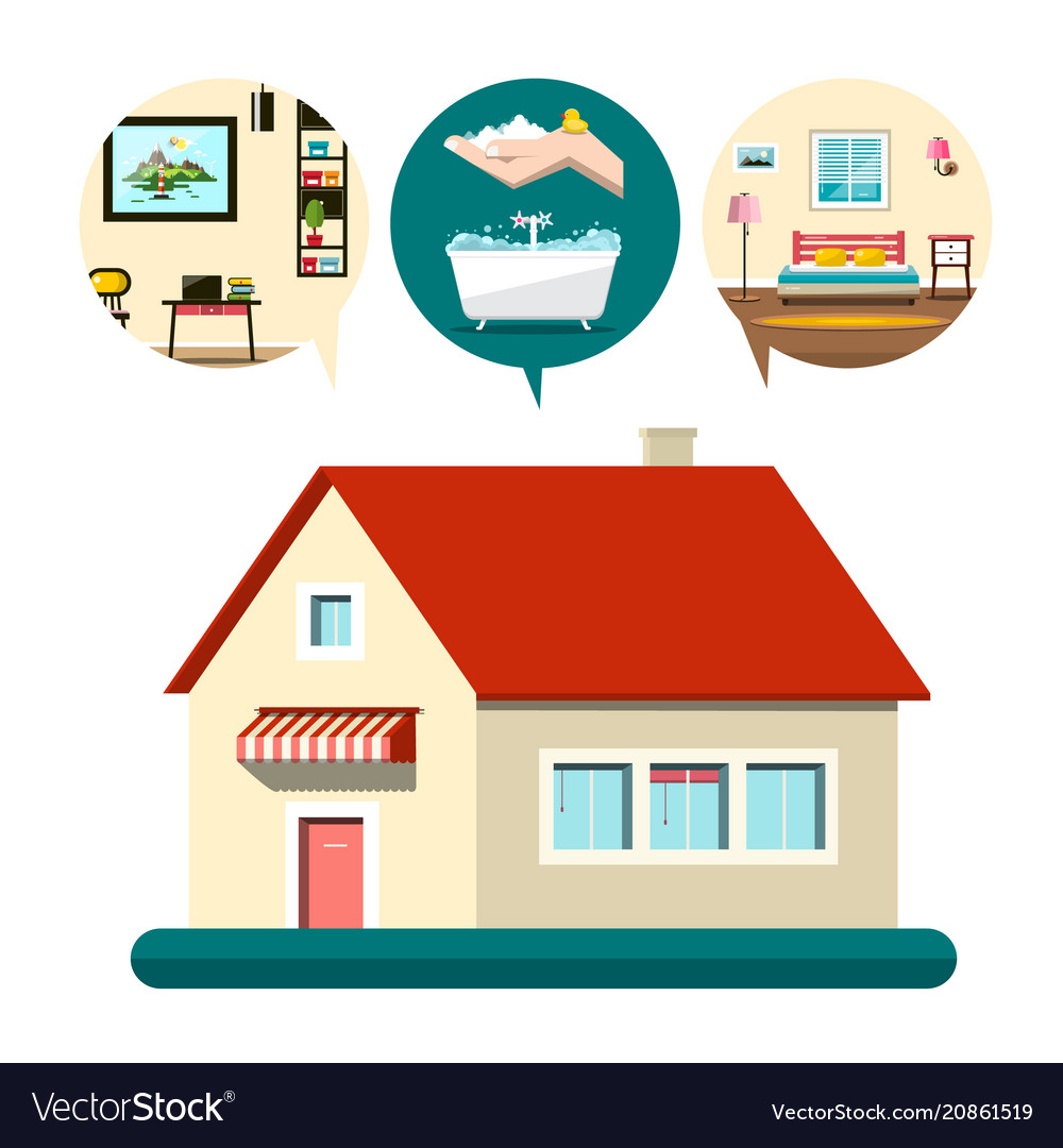 House icon with bedroom bathroom and living room vector image